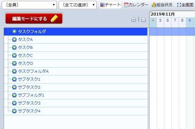 ガントチャートでの初期画面で20程度のタスクが登録されている図